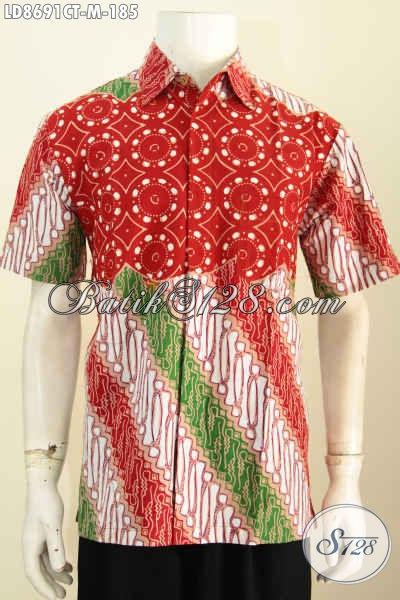 Hem Batik Lenga Pendek Modern Klasik Nan Istimewa, Baju Batik Solo Cap Tulis Halus Harga 185K Warna Cerah, Tampil Tampan Dan Modis [LD8691CT-M]