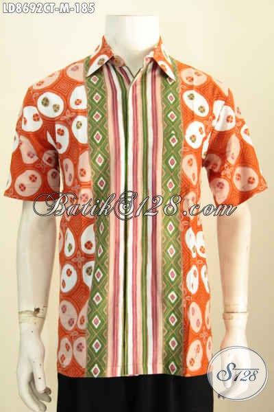 Baju Batik Hem Kerja Lengan Pendek Modis Motif Kombinasi, Kemeja Batik Solo Cap Tulis Desain Keren Banget Untuk Penampilan Lebih Sempurna, Size M