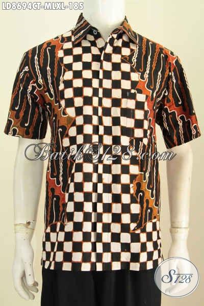 Model Kemeja Batik Solo Lengan Pendek Terkini, Hem Batik Jawa Tengah Halus Proses Cap Tulis, Pas Untuk Pesta, Size XL