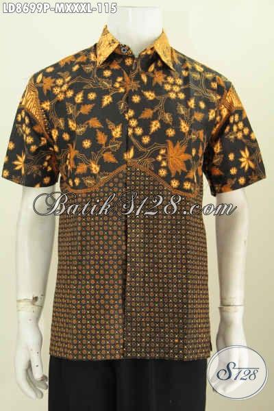 Batik Hem Printing Elegan Motif Klasik Kombinasi, Busana Batik Kerja Pria Muda Kwalitas Bagus, Size M