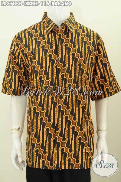 Batik Hem Motif Parang Klasik, Busana Batik Elegan Lengan Pendek Printing Buatan Solo Asli, Di Jual Online 115K, Pas Buat Acara Resmi [LD8703P-XXXL]