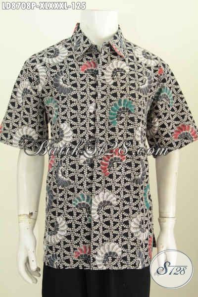 Baju Batik Elegan Keren Lengan Pendek Size XL, Busana Batik Klasik Motif Kombinasi, Bikin Penampilan Lebih Berkelas Proses Printing Hanya 100 Ribuan