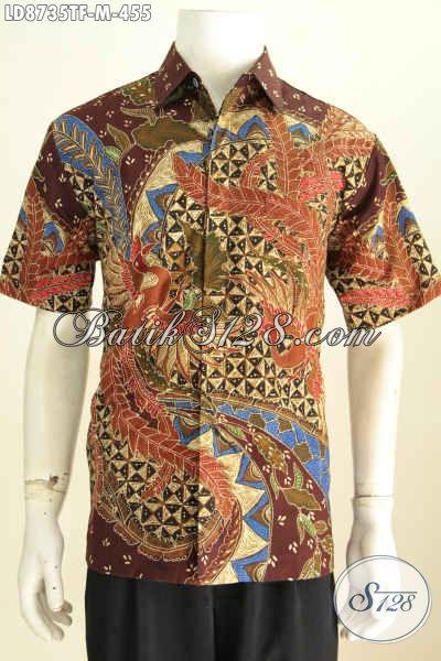 Kemeja Lengan Pendek Bodyfit, Hem Batik Full Furing Nan Mewah Motif Bagus Asli Harga 400 Ribuan [LD8735TF-M]