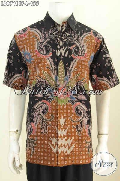 Baju Hem Keren Motif Mewah Proses Tulis, Busana Lengan Pendek Batik Solo Daleman Full Furing Harga 400 Ribuan [LD8740TF-L]