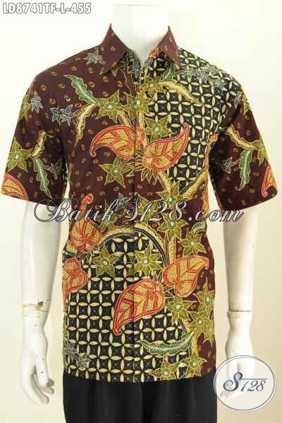 Baju Kerja Bahan Batik Untuk Pria Kantoran Tampil Macho Dan Keren, Busana Batik Tulis Lengan Pendek Full Furing Asli Dari Solo [LD8741TF-L]