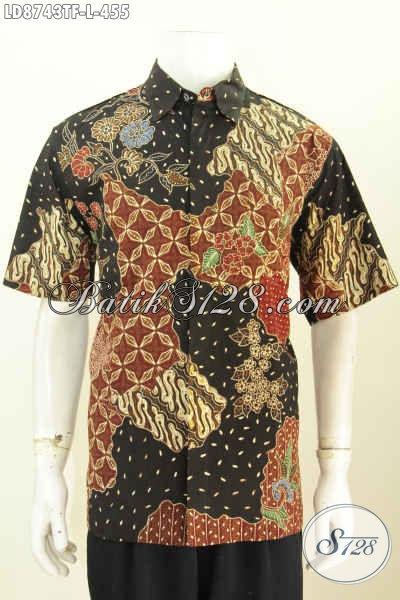 Baju Hem Batik Premium Solo Terkini, Kemeja Batik Kerja Pria Full Furing Model Lengan Pendek Motif Bagus Tulis Asli, Penampilan Lebih Berkelas [LD8743TF-L]