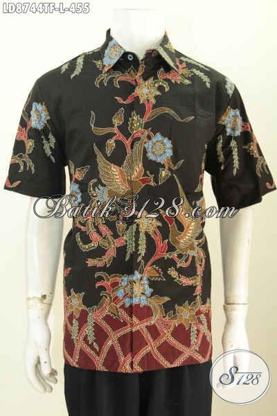 Hem Batik Seragam Kerja Premium, Baju Batik Jawa Etnik Lengan Pendek Istimewa Untuk Penampilan Lebih Gagah Dan Tampan, Size L