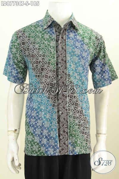 Batik Hem Pria Muda Motif Bagus Cap Tulis, Pakaian Batik Lengan Pendek Trend Desain 2017, Penampilan Lebih Modis, Size S