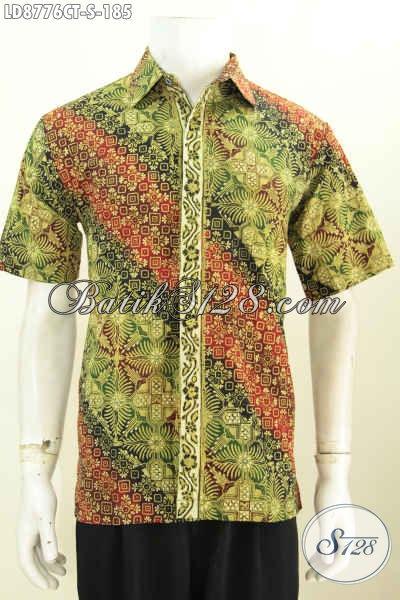 Baju Batik Modis Pria Muda, Hem Batik Elegan Lengan Pendek Model Terbaru 2017, Pas Buat Kerja Dan Jalan-Jalan, Size S