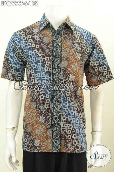Toko Baju Batik Online Jawa Tengah, Hem Batik Keren Lengan Pendek Dengan Motif Klasik Cap Tulis, Penampilan Lebih Gagah Dan Tampan, Size S