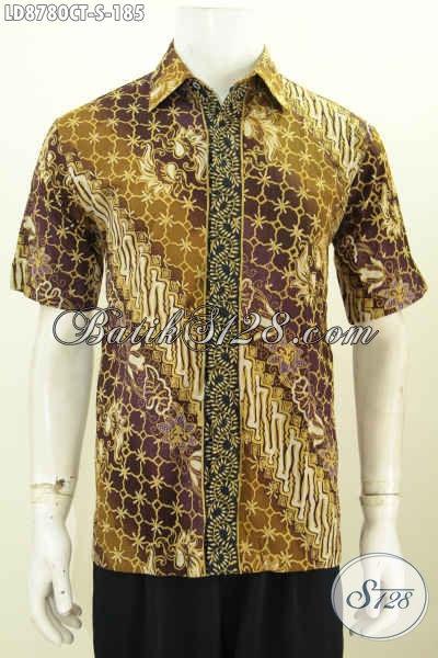 Baju Batik Solo Elegan Size S, Kemeja Lengan Pendek Istimewa Halus Motif Klasik Bahan Adem Nyaman Dan Keren Di Pakai Kerja