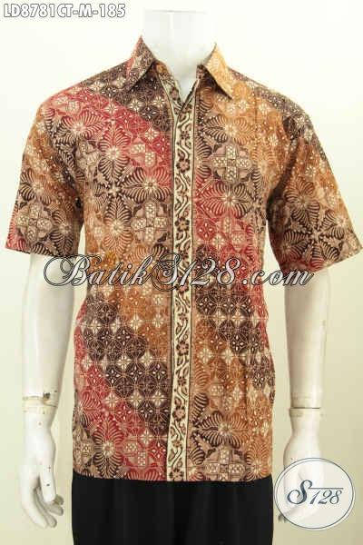 Batik Hem Solo Lengan Pendek Untuk Lelaki Muda, Produk Baju Batik Berkelas Motif Mewah Proses Cap Tulis, Penampilan Lebih Istimewa [LD8781CT-M]