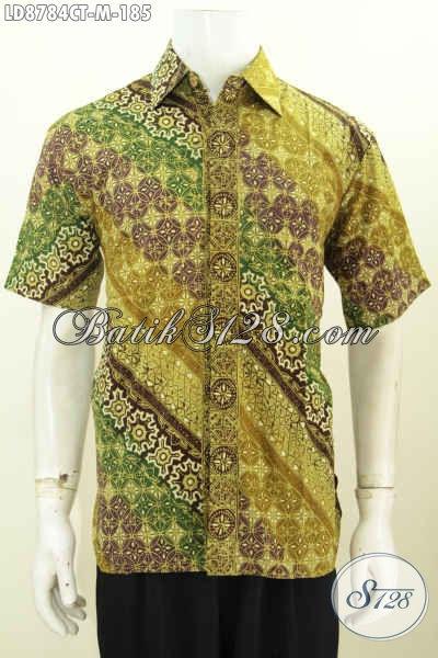 Toko Baju Batik Online, Jual Hem Lengan Pendek Elegan Motif Klasik Desain Keren Bahan Halus Proses Cap Tulis 100 Ribuan, Size M