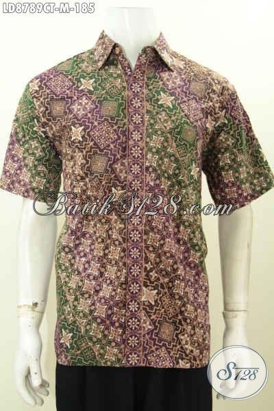 Produk Baju Batik Anaka Muda, Hem Batik Lengan Pendek Halus Proses Cap Tulis Motif Klasik, Tampil Berwibawa, Size M
