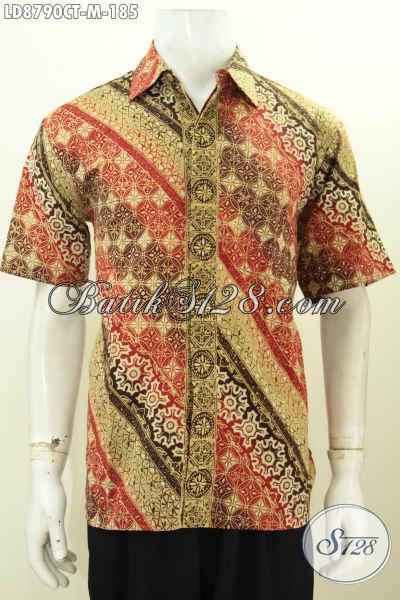 Pakaian Batik Pria Buatan Solo Asli, Hem Batik Cap Tulis Lengan Pendek Desan Terbaru Yang Menunjang Penampilan Lebih Berkelas [LD8790CT-M]