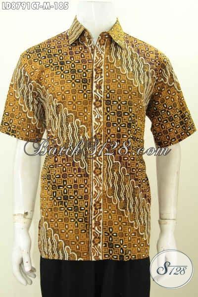 Baju Batik Klasik Cap Tulis, Pakaian Kerja Pria Muda Size M Bahan Halus Model Lengan Pendek, Bikin Penampilan Berkarakter