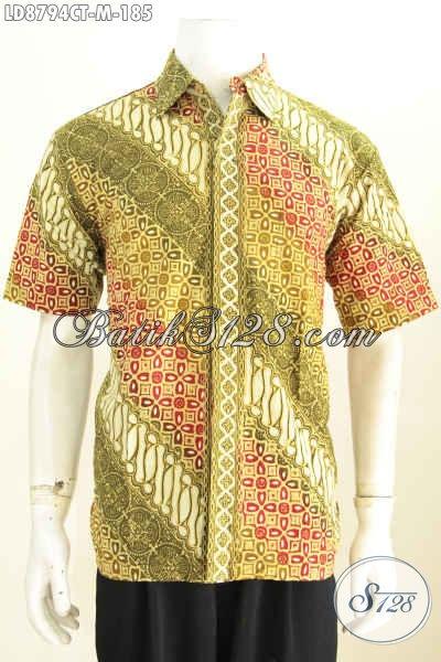 Batik Hem Modern Klasik Lengan Pendek Size M Bahan Halus Proses Cap Tulis, Modis Untuk Kerja Dan Pesta [LD8794CT-M]