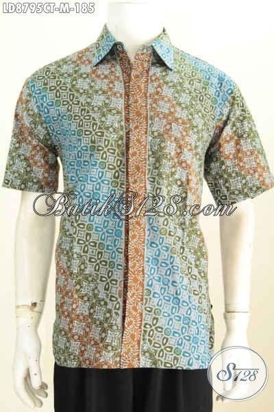 Baju Batik Elegan, Hem Batik Modis, Pakaian Batik Istimewa Proses Cap Tulis Model Lengan Pendek, Asli Buatan Solo, Size M