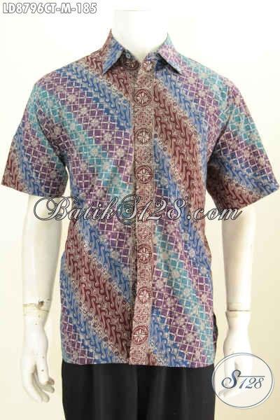 Toko Baju Batik Solo Lengkap, Jual Online Kemeja Lengan Pendek Elegan Proses Cap Tulis Motif Klasik Bahan Adem, Pas Buat Kerja, Size M