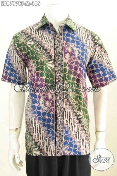 Jual Online Baju Batik Jawa Tengah Terkini, Hem Batik Buatan Solo Motif Klasik Cap Tulis Bahan Adem Desain 2017, Size M