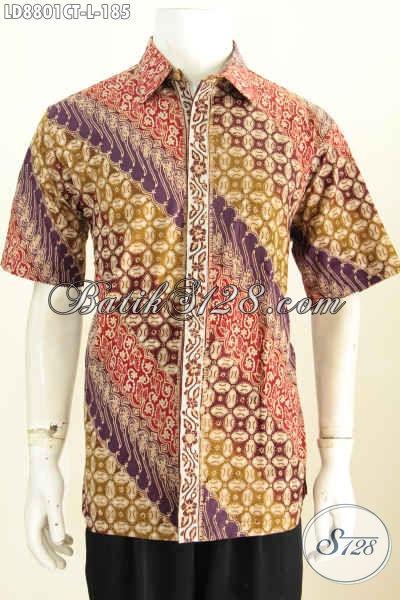 Baju Batik Kerja Size L, Pakaian Batik Solo Halus Model Lengan Pendek Desain Bagus Trend Masa Kini Harga 185 Ribu
