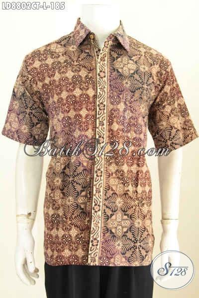 Kemeja Lengan Pendek Halus Modern Klasik, Busana Batik Solo Halus Nan Istimewa Motif Elegan Proses Cap Tulis Harga 185K [LD8802CT-L]
