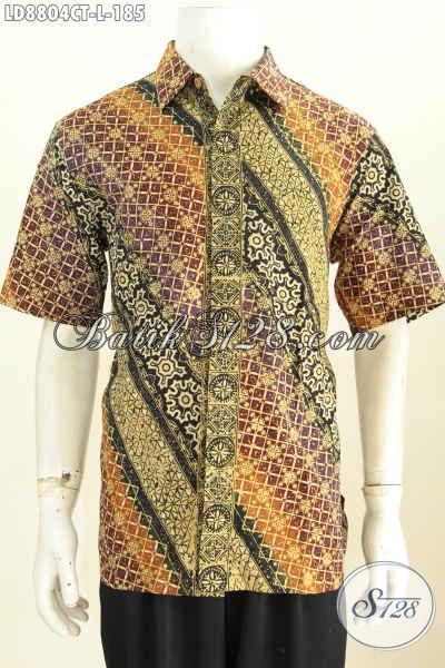 Baju Batik Hem Elegan Model 2017, Pakaian Batik Solo Lengan Pendek Cap Tulis Yang Bikin Pria Terlihat Gagah Dan Tampan Maksimal, Size L