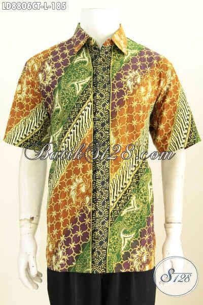 Batik Hem Berkelas, Pakaian Batik Bagus Motif Klasik Cap Tulis Bahan Adem Nan Istimewa Untuk Kerja Dan Acara Resmi, Size L Model Lengan Pendek