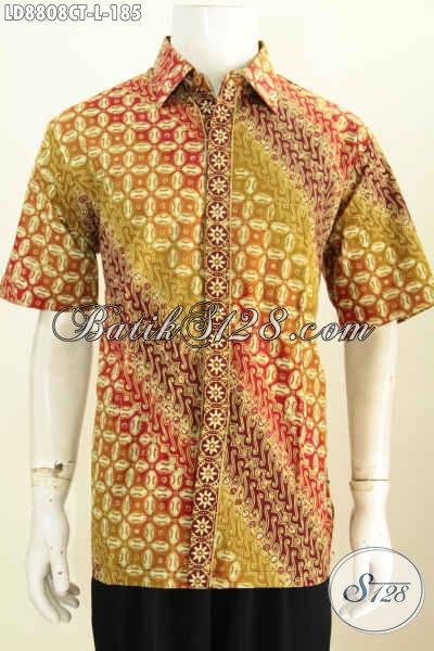 Model Baju Batik Terbaru Untuk Pria, Kemeja Lengan Pendek Elegan Halus Nan Istimewa Untuk Penampilan Nan Mempesona [LD8808CT-L]