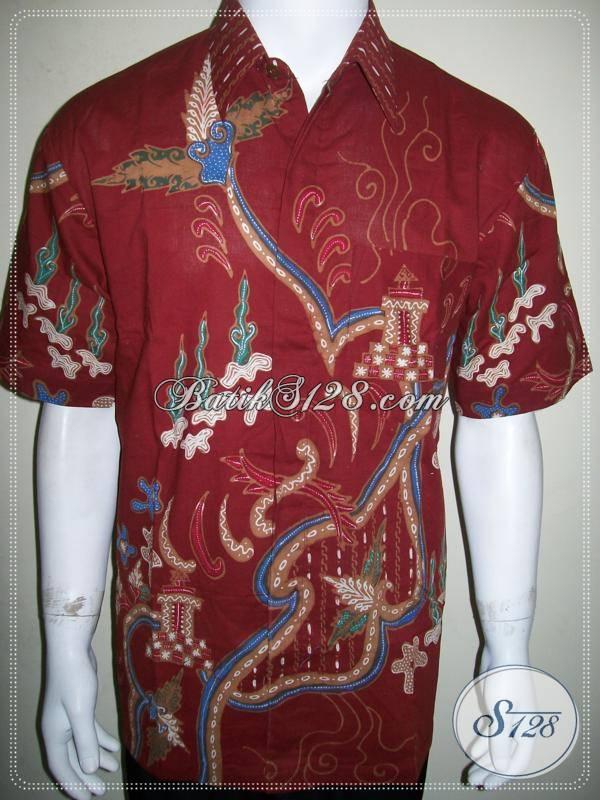 Kemeja Batik Tulis Pria Warna Merah Ukuran L, Keren Mas Bro [LD880T-L]