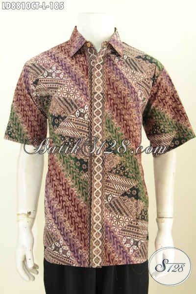 Pusat Baju Batik Online Pria, Sedia Hem Lengan Pendek Istimewa Untuk Penampian Berkelas Dan Mewah Hanya 185K [LD8810CT-L]