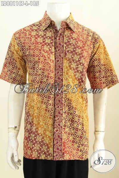 Pakaian Batik Pria Muda, Hem Batik Lelaki Dewasa Ukuran L, Baju Batik Cap Tulis Modern Klasik Desain Kekinian, Tampil Gagah Dan Gaya