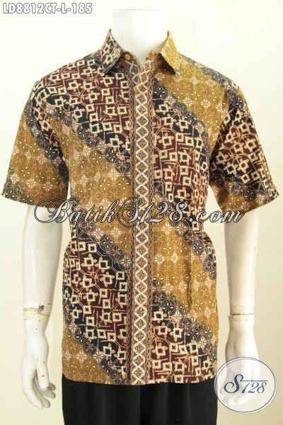 Produk Baju Batik Lengan Pendek Trend Motif 2018 Spesial Untuk Lelaki Muda Dan Dewasa Tampil Gagah Mempesona, Proses Cap Tulis Hanya 100 Ribuan [LD8812CT-L]