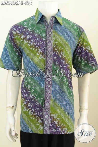 Model Baju Batik Pria Terbaru Buatan Solo Cocok Buat Kerja Dan Santai, Bahan Halus Motif Elegan Proses Cap Tulis, Tampil Lebih Istimewa [LD8818CT-L]