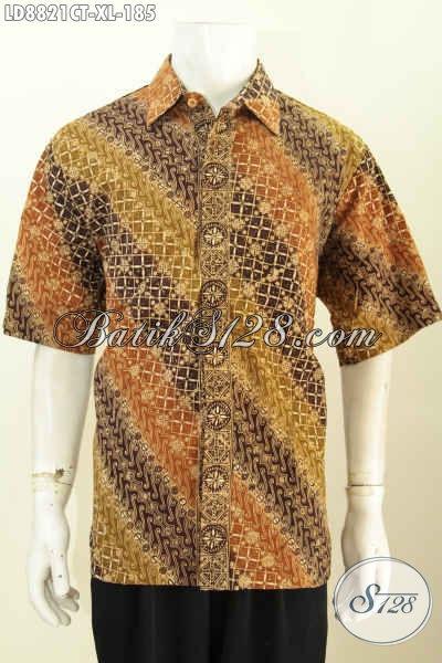 Model Baju Batik Pria Slimfit, Hem Batik Lengan Pendek Halus Size XL Proses Cap Tulis, Bisa Untuk Kerja Dan Kondangan [LD8821CT-XL]