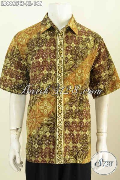 Pakaian Batik Pria Modern Terkini Size XL, Busana Batik Lelaki Dewasa Yang Bikin Penampilan Lebih Macho Dan Menawan, Proses Cap Tulis Model Lengan Pendek [LD8825CT-XL]