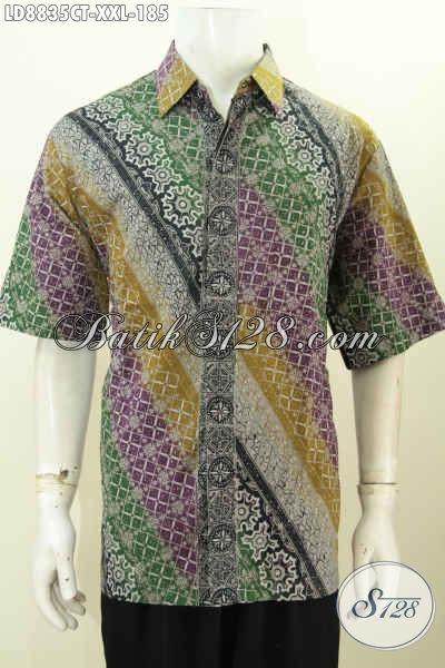 Hem Batik Jumbo, Baju Batik Pria Gemuk, Pakaian Batik Elegan Lengan Pendek Motif Klasik Cap Tulis Size XXL 100 Ribuan