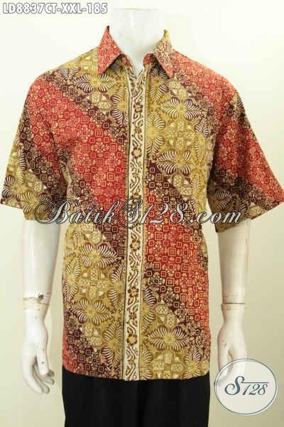 Hem Batik Solo Lengan Pendek 3L, Kemeja Batik Halus Motif Mewah Proses Cap Tulis Hanya 100 Ribuan Saja, Size XXL