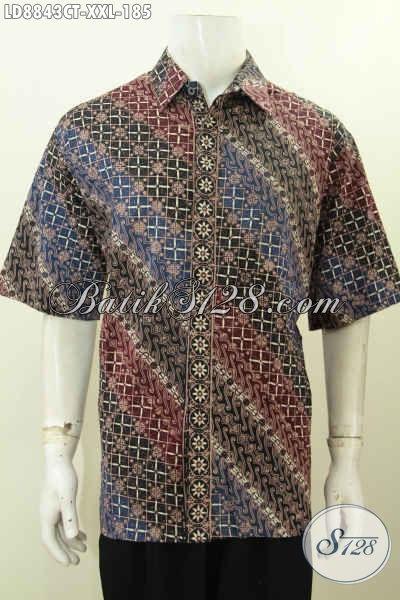 Baju Batik Pria Ukuran Besar Model Lengan Pendek Desain Trendy Dan Kekinian Untuk Pria Gemuk Tampil Gagah Dan Keren [LD8843CT-XXL]