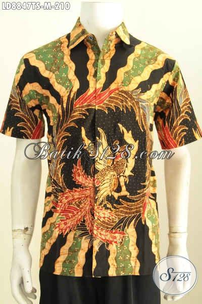 Baju Batik Kerja Istimewa, Pakaian Batik Lengan Pendek Tulis Soga Motif Bagus Buatan Solo Asli Harga 210K, Size M