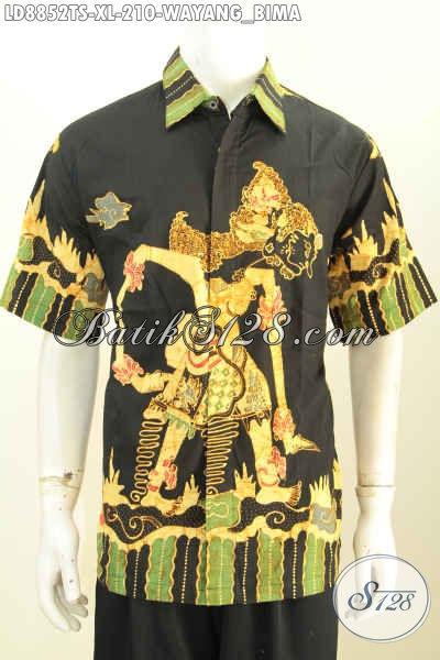 Kemeja Batik Motif Wayang Bima, Hem Batik Solo Tulis Soga Kwalitas Premium Model Lengan Pendek, Pria Tampil Gagah Mempesona [LD8852TS-XL]