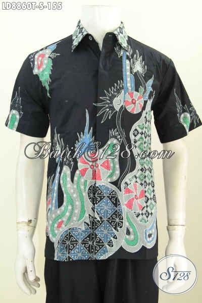 Toko Busana Batik Online, Sedia Kemeja Batik Gaul Pria Muda Lengan Pendek Dasar Hitam Proses Tulis Harga 155K, Size S
