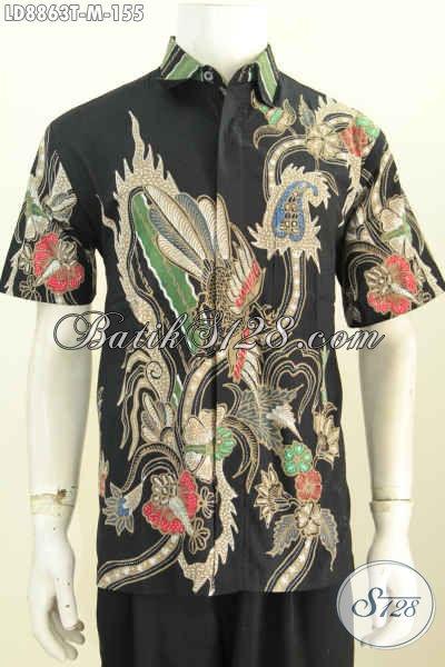 Produk Batik Terbaru 2017, Baju Batik Pria Bagus Lengan Pendek Motif Keren Proses Tulis Hanya 155K [LD8863T-M]