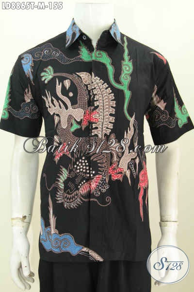 Baju Batik Pria Berkwalitas Bagus Harga 100 Ribuan, Kemeja Batik Lengan Pendek Proses Tulis Dasar Hitam Elegan Motif Trendy, Pas Buat Seragam Kantor [LD8865T-M]
