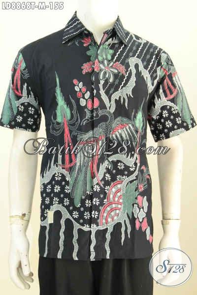 Jual Online Pakaian Batik Terkini, Hem Batik Jawa Lengan Pendek Motif Unik Kwalitas Istimewa Hanya 155K, Size M