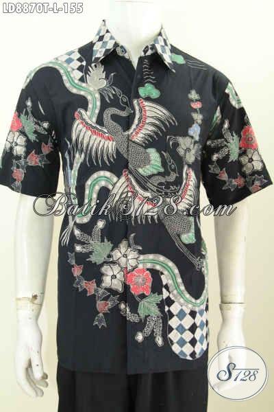 Batik Hem Keren Modis Motif Bagus Trend Masa Kini, Baju Batik Tulis Istimewa Lengan Pendek,  Tampil Lebih Mempesona [LD8870T-L]