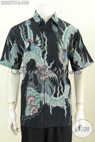 Jual Online Hem Lengan Pendek Bahan Batik Tulis Motif Unik, Pakaian Batik Modern Istimewa Kwalitas Bagus Harga Murmer, Size L