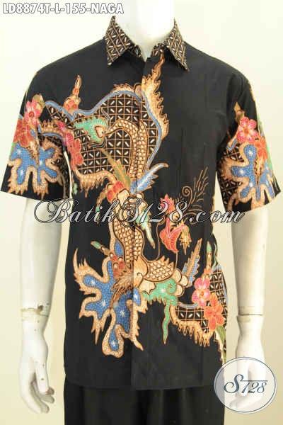 Baju Batik Modis Yang Cocok Untuk Kerja Dan Acara Resmi, Pakaian Batik Tulis Lengan Pendek Nan Istimewa, Tampil Gagah Mempesona, Size L