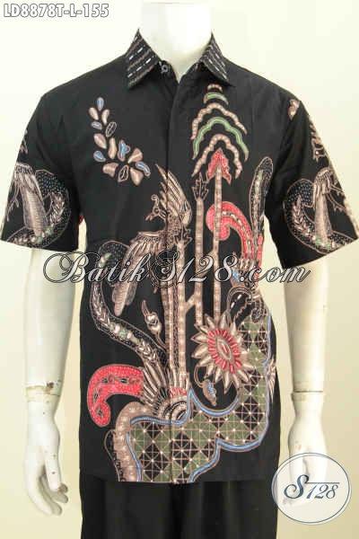 Baju Batik Pria Kantoran, Busana Batik Keren Berkelas Lengan Pendek Motif Bagus Proses Tulis Hanya 155K [LD8878T-L]