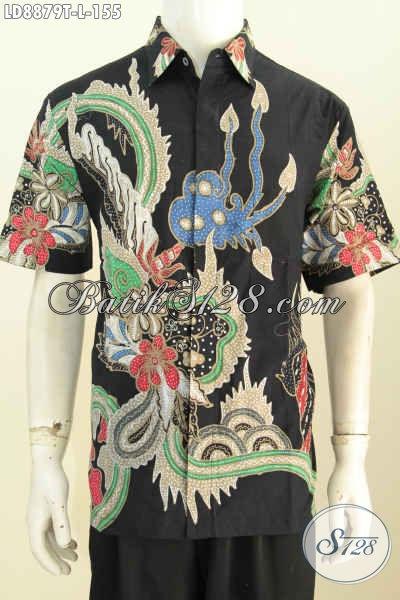 Batik Hem Modis Ukuran L, Baju Batik Tulis Lengan Pendek Istimewa Untuk Penampilan Mempesona